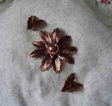 Vintage Copper Pin & Earring Set Signed Copper Bell