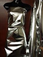 "Metallic Shiny Silver Foil Lame Dress Fabric Material 45"" Width"