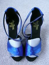 Blue Satin Ladies Girls Shoes Size 4 EU 37High Heels Heeled Sexy Ankle Strap