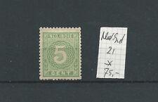 NETHERLANDS INDIE 21 CIJFER 5ct green MH/ongebr  CV 75 €