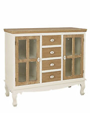 Louis White Painted Glazed 2 Door 4 Drawer Sideboard - French Shabby Chic