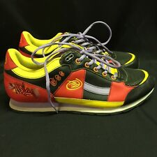 Miskeen Size 12 EUR 46 Leather Urban Hip Hop Sneakers Red Black Yellow