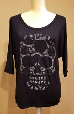 Triangulo Moda Women's Pullover Blouse Skull with Crystals Black NWOT