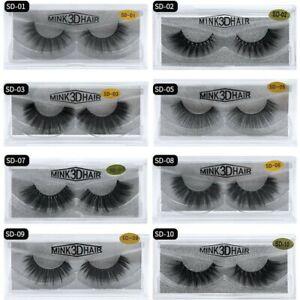 3D Mink False Eyelashe Wispy Cross Long Thick Soft Fake EyeLashes Extension Lash