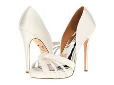NIB Badgley Mischka Cherise wedding formal Platform open toe pump shoes White 10