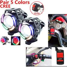 2 Pcs 125W U7 Multi Color Angel Eye LED Motorcycle Headlight+Handlebar Switch