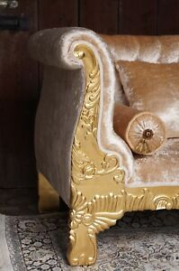 """Imposing 62""""loveseat baroque style exclusive italian fabric from a french castle"""