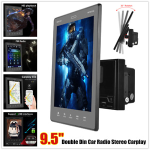 """9.5"""" Vertical Touch Screen Double Din Car Radio Stereo Player Carplay Charge USB"""