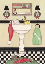 12 Christmas cards: Westie fills sink for holiday bath / Lynch folk art