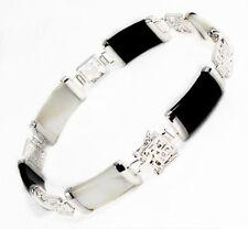 Pretty Natural Black Agate White Jade 18KWGP Fortune Clasp Bangle Bracelet