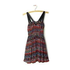 Trixxi dress size S mosaic multi print mesh v-neck straps zip back fit flare new