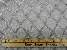 "Woven Metallic Silver on Black Net, 54""W 8 yd. piece (Can CTO)"