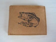 Mens Mankind Leather RFID Wallet w/ BASS FISHING Image & Message (Great Gift)