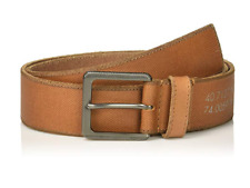 Calvin Klein Men's 38mm Canvas Printed Leather Stitched Edge Belt, Whiskey, 34