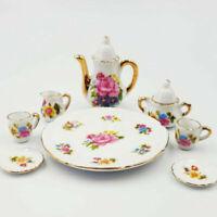 8pcs Tea Set Flower Pattern Durable Ceramic Mini House Tea Set for Kids Friend