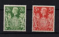 GB KGVI 1939 2s 6d green LHM SG476b & 5s SG477 MNH WS22220