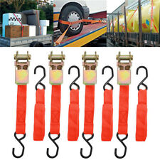 4xRatchet tie down cargo Straps lashing package Webbing Hold Secure Ratchet Belt
