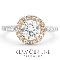 2 Ct Round Cut Halo Diamond Engagement Wedding Ring Solid 14K White Rose Gold