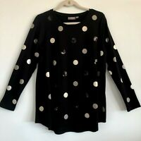 Sussan Black top with silver and black sequins trim Size M Womens