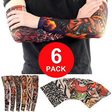6-Pack Elastic Fake Temporary Full Arm Tribal Tattoo Sleeve Skin for Mens Women