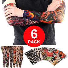 6 Pack Elastic Fake Temporary Tatto Sleeve Full Arm Tribal Body Art Mens Women