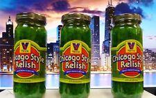 THREE JARS of VIENNA BEEF Neon Green Chicago Style Hot Dog Relish, 12-oz Jars
