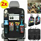 2x Car Back Seat Organiser Tablet Holder Storage Kick Mats Kids Toys Bag Pockets