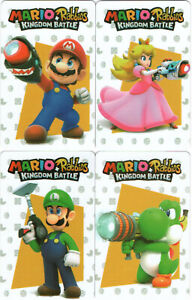 Mario + Rabbids Kingdom Battle Set of 4 NFC Cards Luigi Yoshi Peach