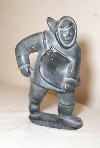 vintage carved soapstone Johnnie Canadian Inuit figural Eskimo art sculpture