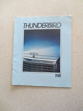 Original 1981 Ford Thunderbird car advertising booklet - Ford USA ---