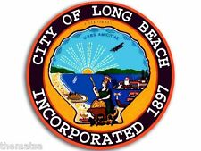 "LONG BEACH CALIFORNIA CITY SEAL 4"" HELMET CAR BUMPER STICKER DECAL MADE IN USA"