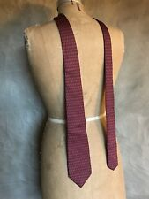 CELINE PARIS Vintage Dark Red HORSE SHOE MOTIF 100% Silk Print Necktie Neck Tie