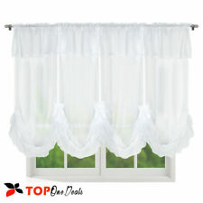 Voile Curtain With Ribbon Bow  Kitchen Blind - Cafe Net Curtains