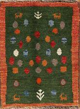 Green Modern Gabbeh Oriental Area Rug Wool Hand-Knotted Home Decor Carpet 2'x2'