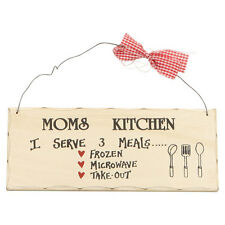 "10""x 4"" Wood Sign Moms Kitchen Serve 3 Meals Funny Wall Hanging Decor ERROR 317"