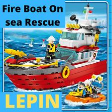 City Fire Boat On the sea Rescue Boat Firefighter 339 pcs Building Block Bricks