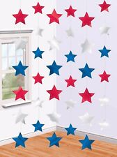 6 7ft Red White Blue Star String Party Decorations Team GB/USA American Olympics