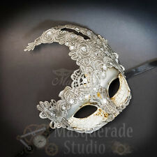 Venetian Goddess Brocade Lace Masquerade Ball Mask with Rhinestones [Silver]