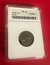 1974 NICKEL ANACS MS 63 MINT ERROR CLIP OLD HOLDER