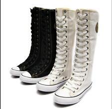 NEU Damen Schuhe Stiefel Canvas leinen Segeltuch Schnürschuh