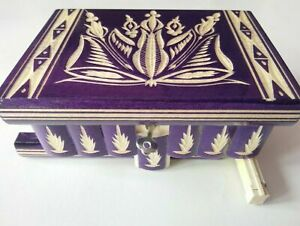 New violet wooden wizard jewelry puzzle magic box brain teaser trinket case