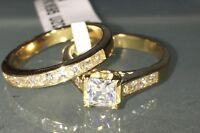 Gold engagement ring princess square 2pcs cz set wedding band bridal new 1895