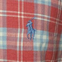Polo Ralph Lauren Mens S/S Madras Plaid Shirt Large White Blue Red