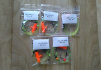5 x mixed running ledger sea fishing rigs Aberdeen hooks good for cod bass etc