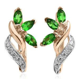 14k Rose & White Genuine Lab Created Emerald & Diamond Russian Style Earrings