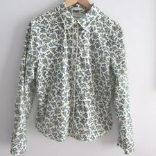 Liz Claiborne Villager Womens Shirt Blouse Button Down Blue Ivory Floral Size 14