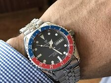 VINTAGE JULES JURGENSEN DIVERS MEN'S WATCH STAINLESS STEEL BLUE RED BEZEL