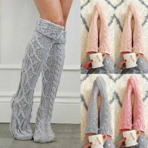 Womens Winter Cable Knit Knee-High Long Boot Socks Girl Warm Socks Leggings XMAS