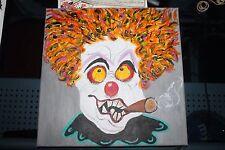 Creepy  Scary  Clown   Oil Painting     On Canvas  12 x 12