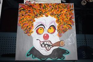 Creepy  freaky  Scary  Clown  Canvas  Oil Painting        12 x 12
